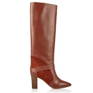 Chloé Rust Brown Suede-paneled Leather Knee Boots